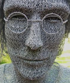 ✯ John Lennon Sculpture made of Chicken Wire by Ivan Lovatt✯