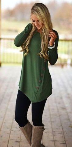 #winter #outfits green long-sleeve shift dress