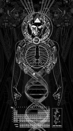DNA of Fractal Human Existence - drawings La Santa Muerte Tattoo, Psychadelic Art, Satanic Art, Sacred Geometry Art, Esoteric Art, Occult Art, Medium Art, Dark Art, Mixed Media Art
