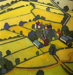 Fields Above the Conwy Valley  Small oil  - Jim Edwards