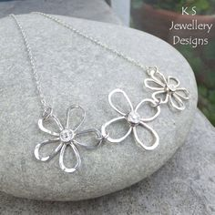 Dappled Flower Trio Sterling Silver Necklace by KSJewelleryDesigns