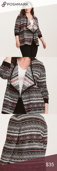 "Torrid Fair Isle Knit Draped Cardigan ""If the knit fits...wear it all the time every day, even if there's barely a chill in the air. This long sleeved draped front cardigan is ski bunny inspired with a black, white and neon pink fair isle print. Start wearing...now! Acrylic."" New with tags, size 1X. torrid Sweaters Cardigans"