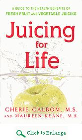 Get juicing tips, learn what to juice for health disorders & comes with diet plans with the Juicing for Life Book.  http://www.veggiesensations.com/products/juicing-for-life-book-by-cherie-calbom