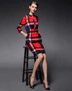 Red Checkered Bodycon Mini Dress with Split (Red, GYALWANA) and buy it online. VIPme.com offers high-quality Bodycon Dresses at affordable price.