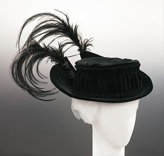 Black silk velvet toque with feather trim bb3cf8f03d2b