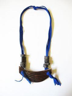 BZIPPY  Co Ceramic Breastplate Necklace - Cobalt