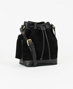 0ff6b299a0d7 Mini Suede Bucket Bag Structured Bag, Black Cross Body Bag, Ann Taylor,  Beautiful
