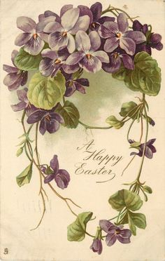 A HAPPY EASTER ring of violets with stem running through the middle above greeting