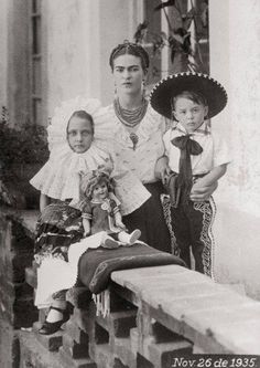 Frida Kahlo with her two nephews in November 261935.