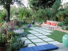 Mid Century Garden with orange and blue accents
