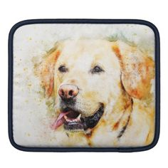 #Cute Labrador Illustration iPad Sleeve - #labrador #retriever #puppy #labradors #dog #dogs #pet #pets