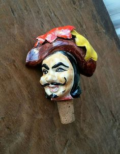 Vintage Ceramic Head Bottle Stopper Cork for Liquor Bottles Curly Mustache Pirate Made in Italy Mid Century Kitsch Barware