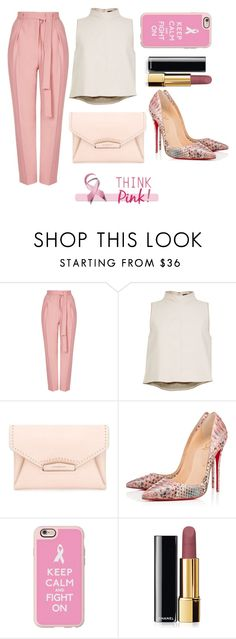 """""""Think Pink"""" by taniamandavela on Polyvore featuring Topshop, TIBI, Givenchy, Christian Louboutin, Casetify and Chanel"""
