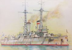 """Imperial Russian Navy Battleship""""Andrei Pervozvanny"""", colour pencils on paper, Nov. Military Art, Military History, Boat Projects, Naval History, Battleship, Sailing Ships, Colored Pencils, Camouflage, Steampunk"""