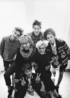 Left to right and top to bottom: D.o, Suho, Xiumin, Baekhyun, Kai and Chen