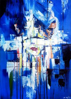 abstract art painting, three shapes coming out of blue, original artwork by Zlatko Music