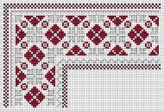 Traditional Bulgarian embroidery.Stitched in two colors, one for crosses and the other for the back stitches.
