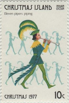 ◙ Christmas Island, Postage Stamp, The Twelve Days of Christmas, Pipers Piping. ◙