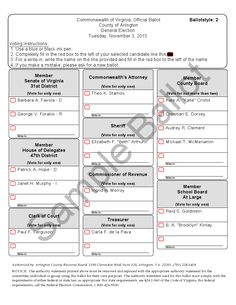 Sample ballot, Arlington County, Virginia (2015)