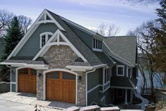gray exterior house honey walnut door   Painted Garage Door Design Ideas, Pictures, Remodel, and Decor - page ...