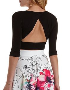 Three-Quarter Sleeve Open Back Crop Top