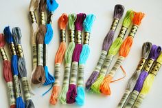 New DMC Colors | 16 new shades...I love 'em all! | wildolive | Flickr Diy Embroidery Thread, Ribbon Embroidery Tutorial, Hand Embroidery Stitches, Cross Stitch Embroidery, Embroidery Patterns, Braided Friendship Bracelets, Friendship Bracelet Patterns, Cross Stitch Designs, Cross Stitch Patterns