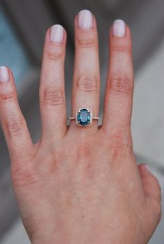 Blue Green sapphire engagement ring. Peacock by EidelPrecious