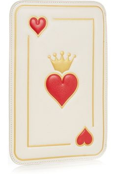 Charlotte Olympia | Queen Of Hearts textured-leather clutch | NET-A-PORTER.COM