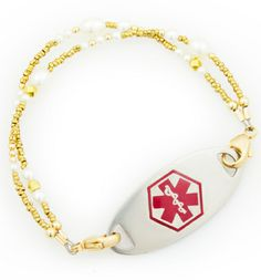 Shop stylish and affordable Beaded and Interchangeable medical bracelets for women. Lauren's Hope offers a variety of styles to choose from along with custom engraving for your medical ID tag. Med Id, Medical Id Bracelets, Golden Rule, Custom Engraving, Chain, Stylish, Jewelry, Women, Jewlery