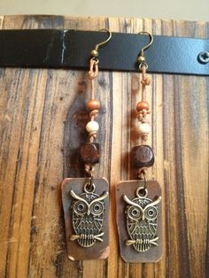 Copper Owl Earrings with Leather by RepurposedAppeal on Etsy, $18.00
