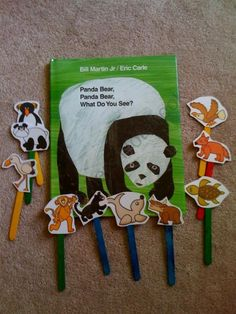 Finger puppets on popsicle sticks but make it so the sticks can't come out. Characters pop up and down.