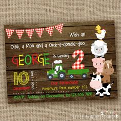 Barnyard Birthday Invitation Wood/Chalkboard Farm Invitation