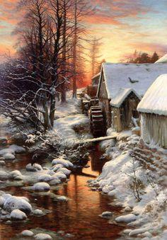 """Silence of the Snow, Bucket Mill on the Feugh, Finzean""  - Joseph Farquharson (1846-1935)"