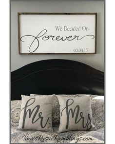 Wedding Gifts Large Wooden Sign / We Decided on Forever / Master bedroom Sign / Over the bed signs / personalized Sign / Wedding gift Bedroom Signs, Home Bedroom, Bedroom Decor, Bedroom Ideas, Rustic Master Bedroom, Master Bedrooms, Master Suite, Bedroom Quotes, Bedroom Furniture