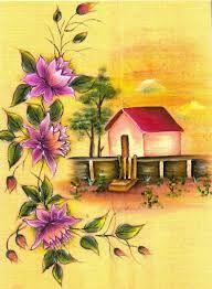 Resultado de imagem para pinturas em tecidos paisagens