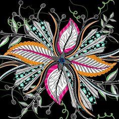 Hippo Flower Night Fabric