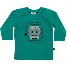 Camiseta Infantil Masculina Hipopótamos Lúdico Verde - Nini & Bambini :: 764 Kids | Roupa bebê e infantil