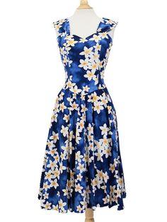 Sundress [Plumeria/Blue] - Middle Dresses - Hawaiian Dresses   AlohaOutlet SelectShop