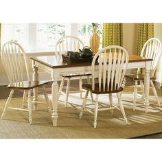 Liberty Low Country White 5 Piece Windsor Back Rectangular Table Dining Set
