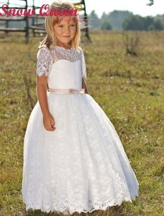 best New White first communion dresses for girls Appliques Lace Fashion girls pageant dresses Long Prom Dresses 2016 New product