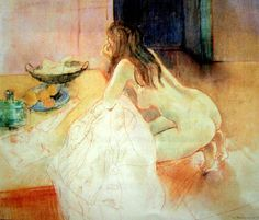 Kneeling nude with fruit. William Boissevain