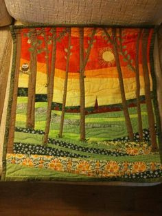 Patchwork-Art____love this Spring quilt Quilt Art, Tree Quilt, Quilting Projects, Quilting Designs, Landscape Art Quilts, Quilt Modernen, Art Textile, Quilted Wall Hangings, Small Quilts