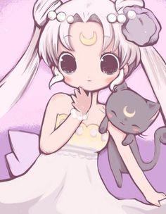 Sailor Moon - Princess Serenity and Luna Sailor Moon Luna, Sailor Moons, Sailor Moon Fan Art, Sailor Jupiter, Sailor Venus, Sailor Neptune, Luna Moon, Anime Chibi, Manga Anime