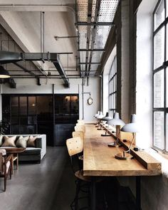 soho works via sohohouse Industrial Office Design, Office Space Design, Workspace Design, Office Interior Design, Office Interiors, Warehouse Living, Warehouse Design, Warehouse Office Space, Soho House
