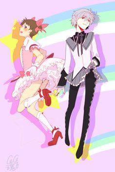 Madoka magica x neon genisis evangelion Shinji as Madoka & Kaworu as Homura