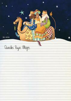 Mónica Carretero Queridos Reyes Magos... Christmas Night, Kids Christmas, Sunday School, Nostalgia, Snoopy, Seasons, Children, Disney, Illustration