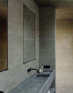Integrated sink and flush mounted mirror.