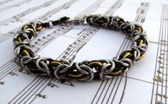 Chainmaille Bracelet in Black Gold and Dark Silver Byzantine weave in a selection of lengths to suit both men and women