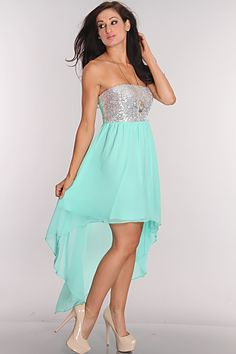 Silver Mint Sequin Strapless High Low Hem Line Dress
