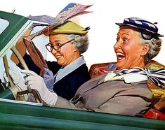 Norman Rockwell. This will be @Liz Austin and @Rebecca Bortis (with me in the backseat) in fifty years.